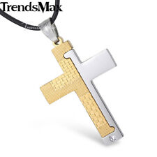 Cross Pendant Necklace Mens Chain Stainless Steel Grid Stripe Gold Silver Black