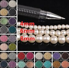 Wholesale 4/6/8mm Charm Glass Pearl Round Loose Spacer Beads Jewelry Findings
