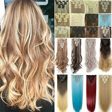 "Hair Extensions Real Thick 8Pcs 18Clips Clip In Long 18-26"" as human Hair Piece"