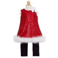 Rare Editions Red Sequin Faux Christmas Outfit Baby Girls 3-24M