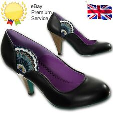 Dancing Days By Banned Vintage Retro 1950s Black Peacock High Heel Court Shoes