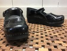DANSKO Womens Sz 38 / 7.5-8 US Black Patent Leather Mary Jane Pro Clogs EUC NR