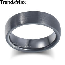 6mm Mens Boys Wedding Band Ring Black Tone Tungsten Carbide Brushed US Sz 8-13
