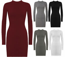 NEW  LADIES TURTLE NECK LONG SLEEVE KNITTED BODYCON JUMPER DRESS