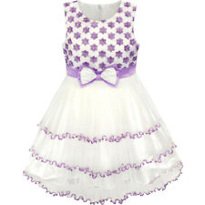Flower Girl Dress Embroidered Sparkling Bow Tie Tulle Party Pageant Size 4-10