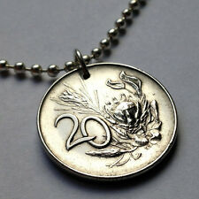 South Africa 20 cents coin pendant African necklace Royal Protea flower n000149