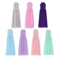 Girls Princess Halter Chiffon Tulle Long Dress FORMAL Bridesmaid Party Wedding