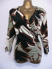 TOGETHER ~ Black Brown Cream Drape Wrap Over Top Size 16 Excellent