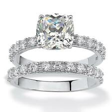 Platinum over Sterling Silver 2.45ct TW Princess-Cut Cubic Zirconia Bridal Ring