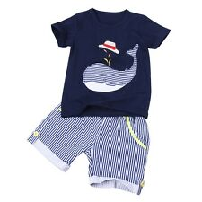 Newborn Baby Boys Kids Casual T-shirt Tops+Striped Shorts Pants Outfits Clothes