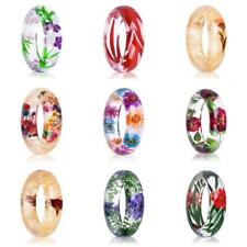 Womens Lady Clear Resin Natural Real Dried Flower Plant Bracelet Bangle Jewelry