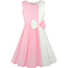 Girls Dress Color Block Contrast Bow Tie Pink White Party Size 4-14