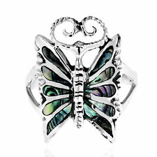 Handmade Mystique Butterfly Abalone Stone Inlay .925 Sterling Silver Ring