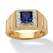 Men's 1-Carat Square-Cut Blue Lab Created Sapphire 18k Gold over Sterling Silver