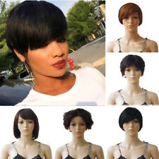 Women Full Wigs Pixie Short Bob Style Hair Straight Human Virgin High Grade Hair