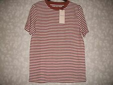 LADIES QUALITY SELECTED FEMME RUSTIC BROWN AND WHITE STRIPED T SHIRT SML RRP £15