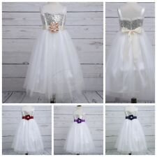 Pageant Tulle Flower Girl Dress Princess Sequins Party Wedding Bridesmaid Gown