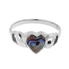 Handmade Sweet Heart Abalone Shell Sterling Silver Ring (Thailand)