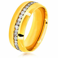 Men's Eternity Crystal Gold Plated Stainless Steel Comfort Fit Ring - 8mm Wide