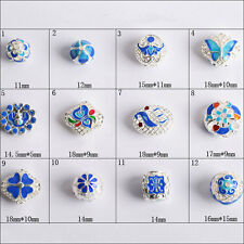 Enamel Cloisonne round square  filigree silver plated copper spacer loose beads