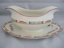JOHNSON BROS ANTIQUE GRAVY BOAT WITH ATTACHED UNDER PLATE - ARUNDALE PATTERN