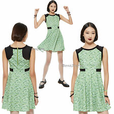 "NEW ""BUTTERCUP"" POWERPUFF GIRLS Green Triangle Print Dress HOT TOPIC EXC. JRS."