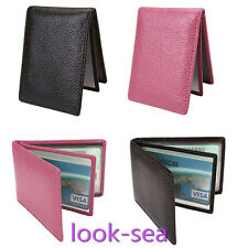 New Mens Womens Split Leather Credit/ID Card Holder Wallet Slim Purse Gift