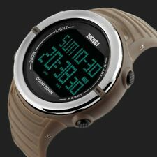 Military Men's Digital Army Sport Silicone LED Date Alarm Waterproof Wrist Watch