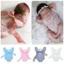 Soft Infant Baby Girl Lace Romper Sunsuit Bodysuit Bowknot Newborn Photo Props