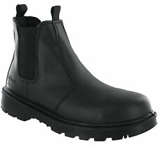 Grafters Black Dealer Safety Leather Pull On Boots Ankle Steel Toe Twin Gusset