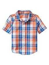 NWT BABY GAP BOYS T-SHIRT top orange blue plaid      5T
