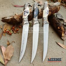 "3 TYPES 13"" EAGLE HEAD COLLECTORS KNIFE Eagle Pummel Fixed Blade DAGGER+Scabbard"