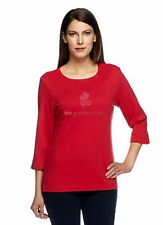 NWT QUACKER FACTORY Red 3/4 Sleeve Simplicity T-Shirt Many Sizes 120784RM