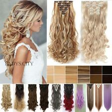 8 Pcs Full Head Highlight Clip in Hair Extensions Long Straight Curly Brown Lfv