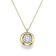 0.30 CT H/SI1 Certified Solitaire Round Enhanced Diamond Pendant 14K Yellow Gold