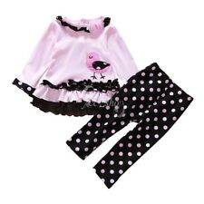 Toddler Infant Baby Girl Bird Polka Dots Outfit Long Sleeves Ruffle Tops Clothes