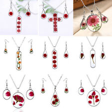 Handmade Natural Dried Rose Flower Glass Necklace Earrings Jewelry Set Women New