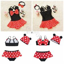 Kids Baby Girls Minnie Mouse Polka Dots Toddler Swimwear Bathing Suit Beachwear