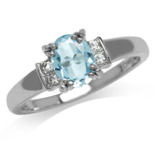 1.43ct. Genuine Blue Topaz White Gold Plated 925 Sterling Silver Engagement Ring