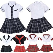Womens School Girl Uniform Costume Lingerie Halloween Cosplay Fancy Dress Lady