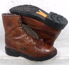 """Ariat Mens Cascade 8"""" Brown Leather Lace Up Work Boots Shoes 10002420 size 9 EE"""