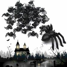 50/100pcs Plastic Black Spiders Trick Toy Halloween Party Haunted House Decor