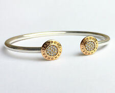 New PANDORA Signature Open Bangle with 14K Gold Plating 590528CZ Authentic