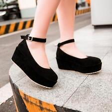 New Womens Mary Jane Platform Ankle Strap Creeper Wedge Heel Casual Pumps Shoes