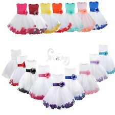 Flower Girl Kid Pageant Party Princess Petals Sash Bridesmaid Wedding Dress Gown