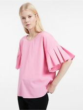 calvin klein womens matte cotton pleated sleeve top