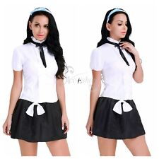 Sissy Women School Uniform Girl Hairband Tie Costumes Fancy Dress Lingerie Skirt