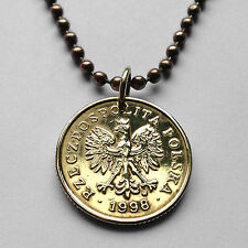 Poland 5 Groszy coin pendant white Polish EAGLE Polska necklace Warsaw n000753