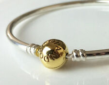 New PANDORA Silver Bangle Bracelet with 14K Gold Plated Clasp 590713 Authentic