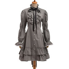 Lolita Single-breasted Bowknot Grey Dress Vintage Victorian Flounce Ball Gown